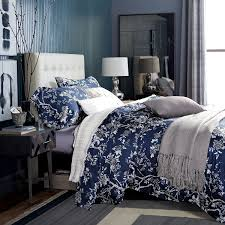 Amazon.com: Eastern Floral Chinoiserie Blossom Print Duvet Quilt ... & Amazon.com: Eastern Floral Chinoiserie Blossom Print Duvet Quilt Cover Navy  Blue Tan White Asian Style Botanical Tree Branches Ornamental Drawing 400TC  ... Adamdwight.com