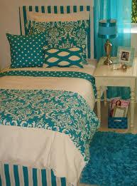 trendy turquoise damask custom dorm bedding set