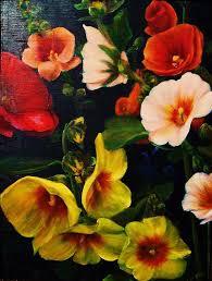 flowers painting hollyhocks by dana redfern