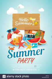 Summer Beach Party Invitation Poster Background Elements And