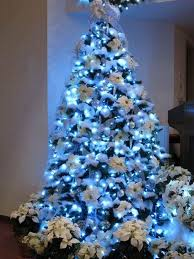 White Christmas Tree With Blue And Silver Decorations (09)