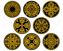 Medieval Patterns Beauteous Decorative Round Assorted Intricate Patterns In Yellow In Medieval