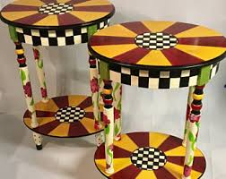 whimsical painted furniturePainted table  Etsy