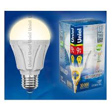 Светодиодная <b>лампа Uniel LED</b>-<b>A60</b>-<b>9W</b>/<b>WW</b>/<b>E27</b>/<b>FR</b> ALP01WH ...