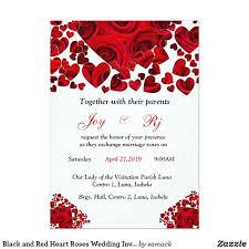Black and Red <b>Heart Roses Wedding Invitation</b>   Wedding invitations ...