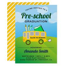 Preschool Graduation Announcements Cute School Bus Preschool Graduation Invitation