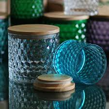 Decorative Glass Jars Wholesale New arrival 60pcs Colorful Retro stained glass oak lid glass sealed 1