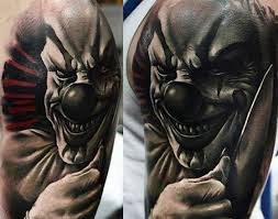 Clown Tattoo On Left Shoulder