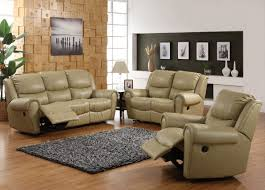 Transitional Style Living Room Furniture Cream Bonded Leather Transitional Reclining Sofa Pull Handle