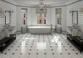 amusing bathroom with black and white beautiful tile on the wall