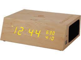 bluetooth alarm clock radio speaker by gogroove wood alarm clock fm radio led