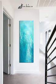 tall vertical blue wall art teal