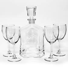 personalized capitol liquor decanter wine glasses set
