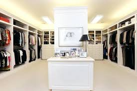 walk in closet lighting. Bedroom U Shaped White Stained Wooden Walk Wardrobe Using Sliding Glass Door Dark Polished Small In . Closet Lighting