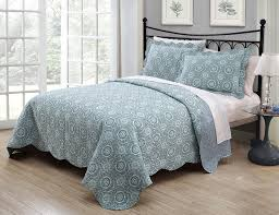 3 Piece Saira Aqua/Blue Quilt Set & 3 Piece Queen Saira Aqua/Blue Quilt Set Adamdwight.com