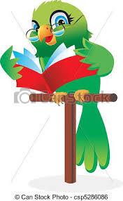 parrot reading a book cartoon csp5286086