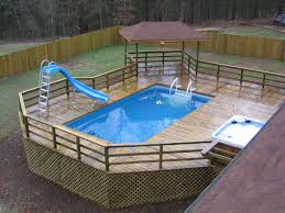 above ground pool decks. Small Rectangular Above Ground Swimming Pool Decks With Railing And Slides