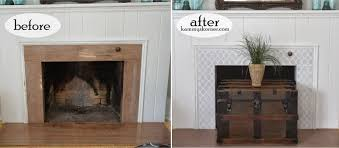 before and after of a diy painted granite fireplace makeover using the rabat craft stencil granite look alike tile