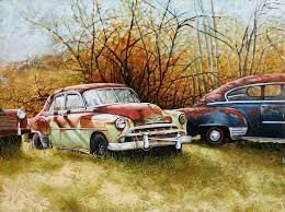 autumn rust vintage cars painted in oils original artwork for and giclee canvas