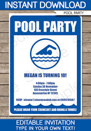 Free Pool Party Invitations Printable Pool Party Invitations Template