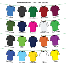 Fruit Of The Loom T Shirt Color Chart Fruit Of The Loom Kids Original T Shirt