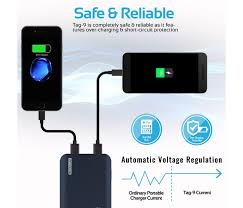 Promate Tag 9 9000 Mah Portable Charger Power Bank With Dual Usb Port 4 2a Output Blue