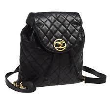 Authentic CHANEL Quilted CC Chain Backpack Bag Black Leather ... & Image is loading Authentic-CHANEL-Quilted-CC-Chain-Backpack-Bag-Black- Adamdwight.com