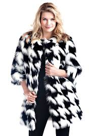 black white fox houndstooth faux fur coat