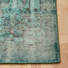 caspian distressed rug overdyed green west elm intended for design 1