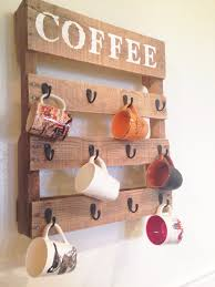 Coffee Cup Rack Under Cabinet Diy Pallet Coffee Cup Holder One Little Bird Blog