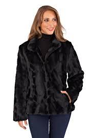 womens las full faux fur coat short mid