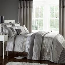 catherine lansfield signature gatsby sequin embroidered faux silk duvet cover set silver king