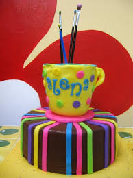 paint pottery party cake for paint your own pottery party 8 in round with fondant accents and fondant covered cake shaped like mug real paintbrushes