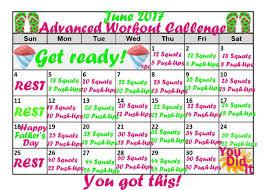 Weight Loss Calendar June Fitness Calendars Exercise Challenges