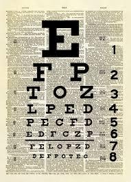 Snellen Eye Chart Dictionary Art Print No 300 Altered