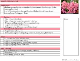 Household Maintenance List Household Checklist For April Running A Household