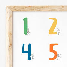 Sign Language Numbers Poster 1 10 Boy Modern Baby Sign Language Number Chart