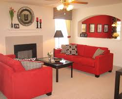 Orange Living Room Sets Red Fabric Sofa Set And Rectangle Black Wooden Table On Beige