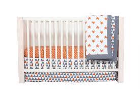 bacati playful fox orange grey 10 pc crib set including per pad