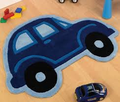 blue car shaped rug 80 x 100 cm