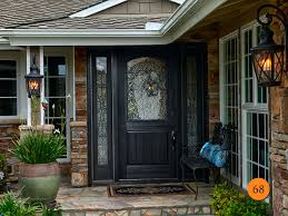 black front door with sidelightsBeautiful Black Front Doors With Sidelights Paned Windows Frame A