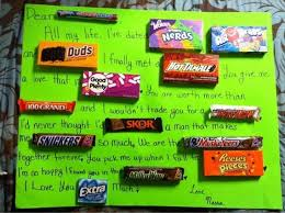 Love letter in candy bars
