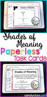 embrace synonym. shades of meaning digital task cards - paperless for google classroom use embrace synonym