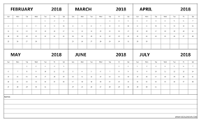 write in calendar 2018 calendar february to july 2018 blank 6 month template 2018