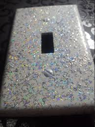 Decorative Light Switch Plates White With Silver Holographic Glitter Decorative Bling Light