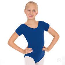 Girls Short Sleeve Leotard With Cotton Lycra 1043
