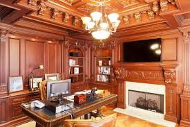 office paneling. home office with extensive wood paneling traditional l