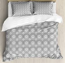 grey and white king size duvet cover set abstract pattern with lots of angular elements a kaleidoscope of forms decorative 3 piece bedding set with 2