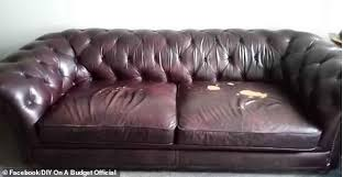 her battered leather sofa