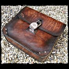brown leather saddlebag